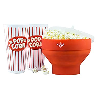 Microwave Silicone Popcorn Popper with Reusable Popcorn Containers Bundle, Popcorn Maker with Retro Movie Tubs and Recipe eBook!