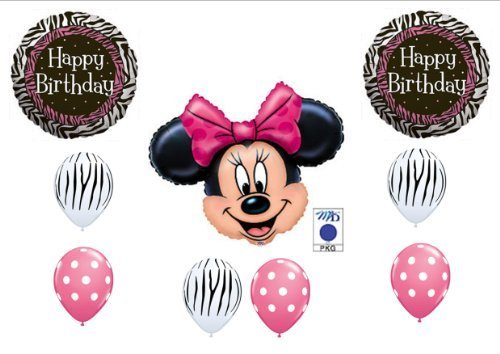 PINK MINNIE MOUSE AND ZEBRA PRINT BIRTHDAY PARTY Balloons Decorations Supplies by Anagram (Minnie Mouse Zebra Decorations)