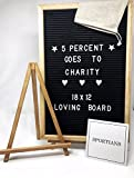 Changeable Felt 18x12 Letter Board with Letters, Board Stand, Canvas Bag, Punctuations, and Wall Mount. Perfect for Your Home! Changable Wooden Oak Frame Message Word Board Sign