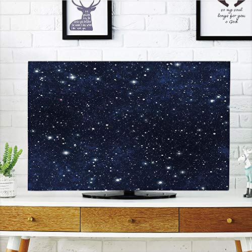 iPrint LCD TV Cover Multi Style,Night,Star Filled Dark Sky Vivid Celestial Theme Cosmos Galactic Cluster Constellation Decorative,Dark Blue White,Customizable Design Compatible 42