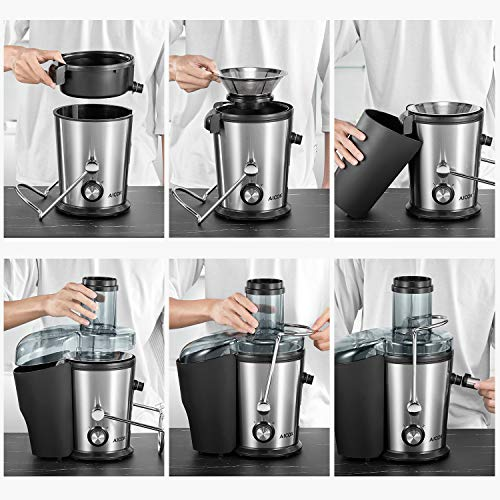 Juicer Machine, Aicok Easy Clean Juice Extractor, 800W Centrifugal Juicer with 3'' Wide Mouth, Dual Speed Stainless Steel Juicer with Anti-drip Mouth, Non-slip feet, BPA Free by AICOK (Image #6)