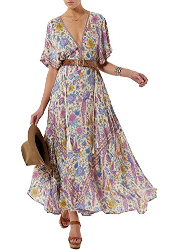 R.Vivimos Women Summer Print Deep V Neck Cotton Beach Long Dresses Large Beige