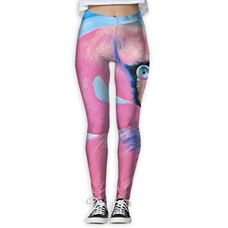 93cee56d492edd Amazon.com : Women's Girl Pink Flamingo Graffiti High Waist Casual ...