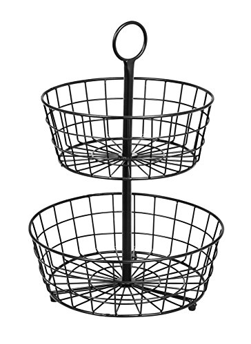BirdRock Home 2 Tier Wire Fruit Basket | Round Metal Standing Baskets | Fruit Vegetable Garlic Caddy | Freestanding Rustic Decorative - Two Tier Basket