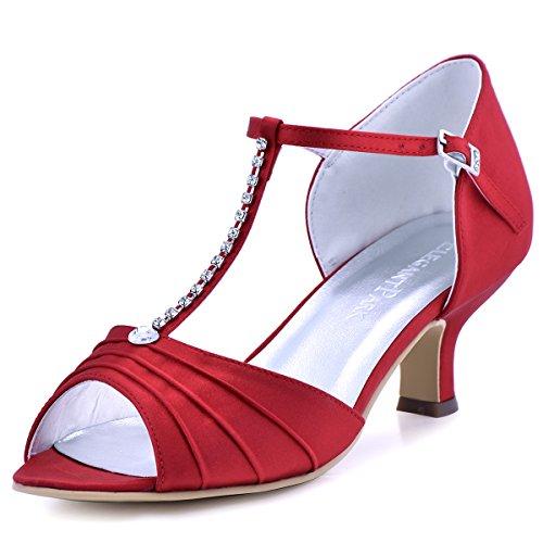 (ElegantPark EL-035 Women Peep Toe T-Strap Pumps Mid Heel Rhinestones Satin Evening Wedding Sandals Red US 7)