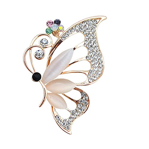 - PANGRUI Clear Crystal Rhinestone Butterfly Insect Pins Brooches Jewelry (Gold)