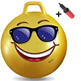 WALIKI TOYS Hopper Ball For Adults (Hippity Hop Ball, Hopping Ball, Bouncy Ball With Handles, Sit & Bounce, Space Hopper, Kangaroo Bouncer, Jumping Ball, Ages 13-101, 29 Inches, Emoji, Pump Included)