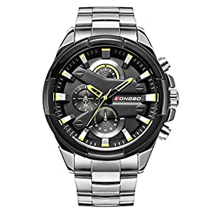 LONGBO Men's Unique Big Face Analog Quartz Swiss Watch Silver Stainless Steel Band Business Wrist Watches Sportive Luminous Waterproof Decorative Chrono Eyes Black Dial Army Military Watch for Man