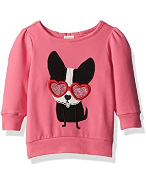Baby Girls' Dog in Heart Glasses French Terry Top