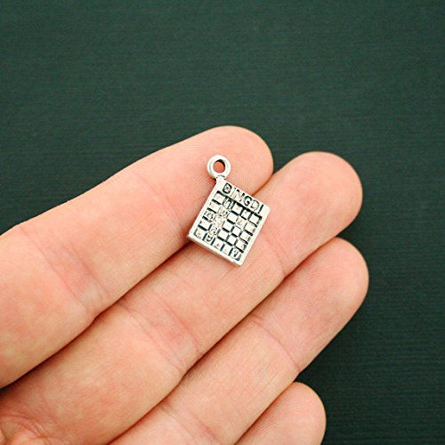 (Extensive Collection of Charm 8 Bingo Card Charms Antique Silver Tone - SC6213 Express Yourself)