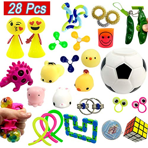 Scientoy Fidget Toys Set, Sensory Toys for Adults and Kids(28 packed) with Mochi Squishy, Fidget Spinners, Magic cub, stretchy strings , Squeeze Balls, ADHA Toys for Relieving Stress and Anti-anxiety (Best Fidget Toys For Adhd)
