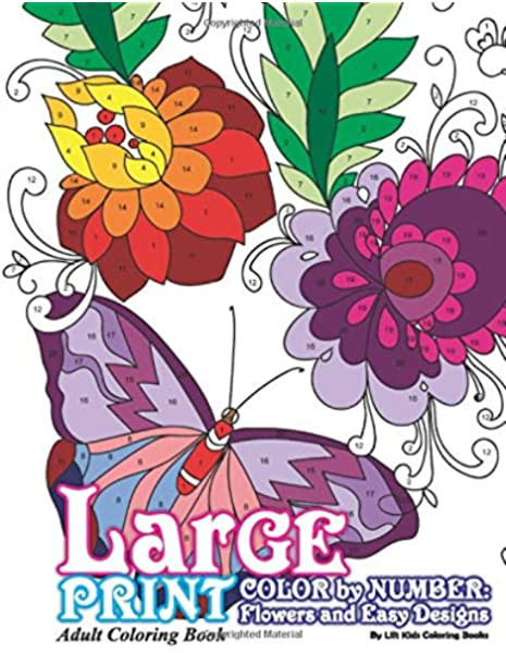 Amazon.com: Large Print Adult Coloring Book Color By Number: Flowers & Easy  Designs (Beautiful Adult Coloring Books) (Volume 79) (9781548007881): Coloring  Books, Lilt Kids: Books