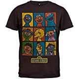 Sesame Street - Mens Puppets Grid Soft T-Shirt - X-Large Brown