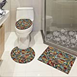 lacencn Doodle Toilet carpet floor mat Cinema Items Combined in an Abstract Style Popcorn Movie Reel The End Theatre Masks 3 Piece Shower Mat set Multicolor