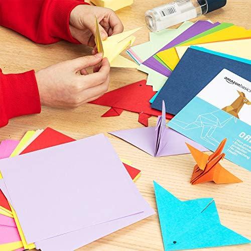 AmazonFundamentals Origami Paper, Assorted Colors, 200 Sheets