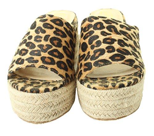 Tilly London Womens Ladies Vegan Flat High Wedge Espadrille Mules Sandals Slip On Platform Summer Sizes 3 4 5 6 7 8 Shoes Leopard ZBmyAv