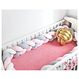 "Infant Soft Pad Braided Crib Bumper Knot Pillow Cushion Cradle Decor for Baby Girl and Boy (White-Rose-Grey, 157"")"