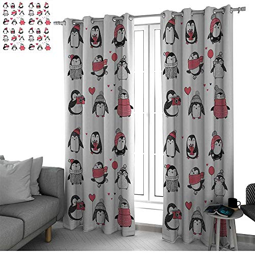Winter Thermal Insulated Blackout Patio Door Curtain Panel Cute Penguins Hand Drawn Style Set Merry Christmas Greetings Babies Kids Toddler Black Out Window Curtain W108 x L108 Inch