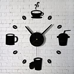 URToys Coffee Cups Beans 3D DIY Wall Clock Acrylic Stickers Quartz Modern Home Decoration Retro Kitchen Wall Clock Silent Watch Decals