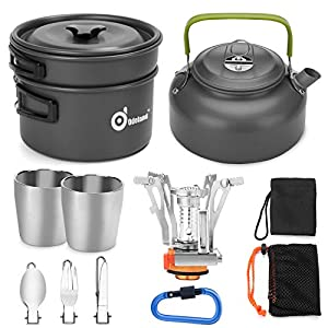 Odoland 12pcs Camping Cookware Mess Kit with Mini Stove, Lightweight Pot Pan Kettle with 2 Cups, Fork Spoon Kit for…