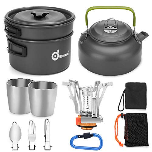 Odoland 12pcs Camping Cookware Mess Kit with Mini Stove