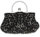 Bywen Womens Vintage Beaded Purse Party Clutch Shoulder Bags Black