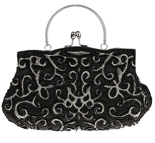 Bywen Womens Vintage Beaded Purse Party Clutch Shoulder Bags Black by Bywen