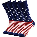 American Flag Socks, LANDUNCIAGA Mens Warm Mid Calf Novelty Fashion American Cotton Socks 4 Pair Pack Wedding Groomsman Match Game Socks,Birthday Gift Socks Dress Socks Gifts for Son