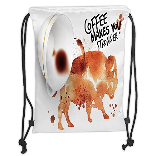 (New Fashion Gym Drawstring Backpacks Bags,Coffee Art,Conceptual Design with Inverted Americano Cup Strong Animal Bull,Burnt Sienna Black White Soft Satin,Adjustable String Closure)