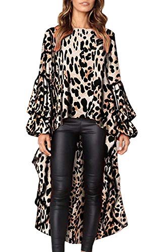 Women's Hi-Low Casual Maxi Shirt Long Sleeve O Neck Leopard Print Blouse Tops US 16-18