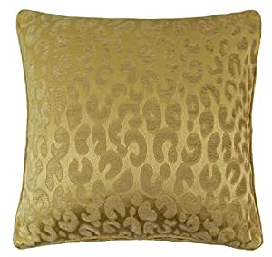"2 X LUXURY SAFARI WOVEN CHENILLE GOLD THICK PIPED CUSHION COVERS 18"" - 45CM"