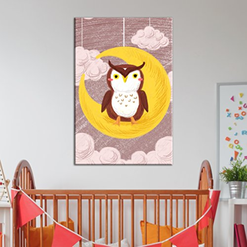 Cute Cartoon Animals an Owl Sitting on The Crescent Moon Kid's Room Wall Decor