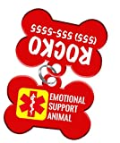 Service Animal Pet ID Dog Tag & Personalized Custom Pet Tag with Pets Name & Contact Number [USA COMPANY] (ESA (Emotional Support Animal))
