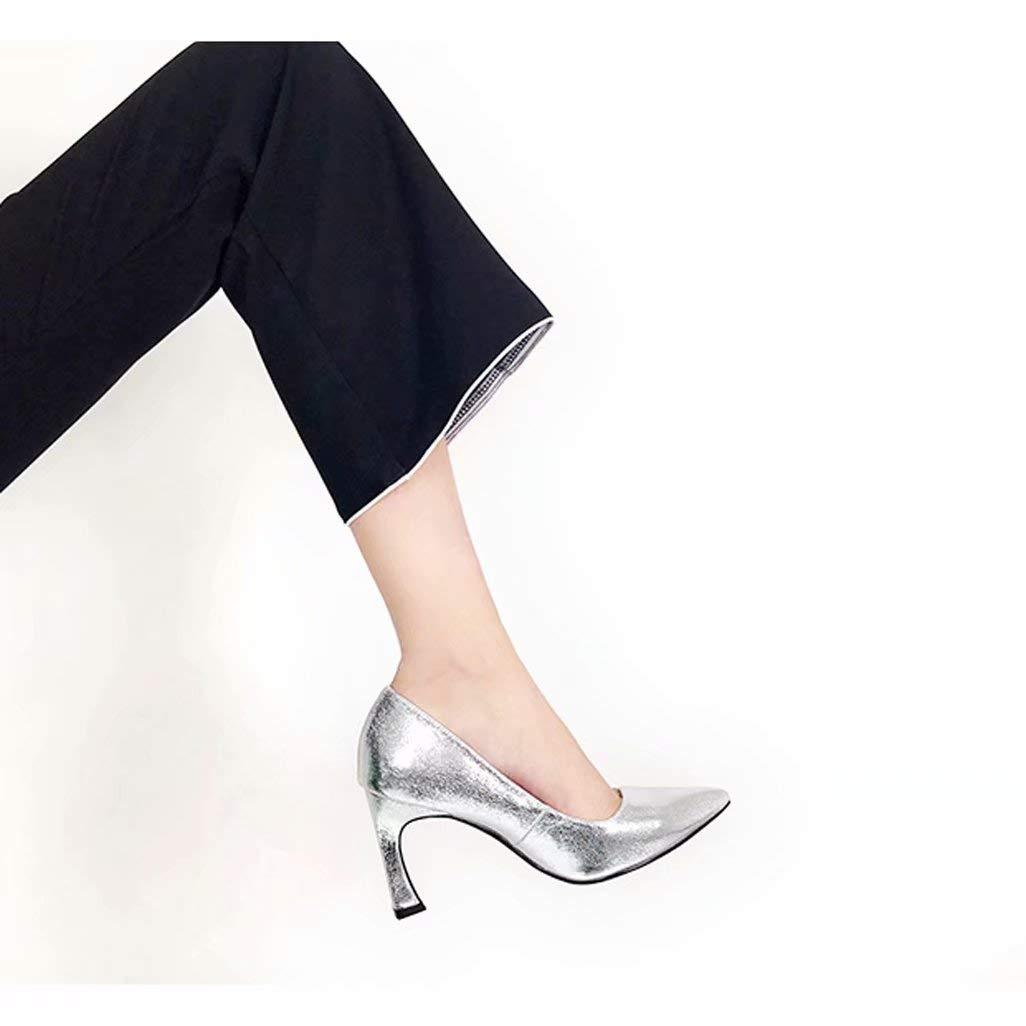 YZ-schuhe Silber Kristall High Heels Stiletto Stiletto Stiletto Spitze Damenschuhe aus echtem Leder Leder Lackleder einzelne Ferse Schuhe europäische und amerikanische Mode Damenschuhe 29a8c5