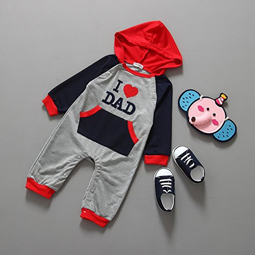 Baby Boys Girls 1 Piece I Love Mom/dad Long-sleeved Hooded Jumpsuit (70(0-6Months), I LOVE DAD)