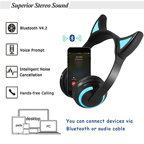 Kids Wireless Bluetooth Headphone 7 Colors LED Light Flashing Glowing Devil Ear Cosplay On-Ear Stereo Headset with Mic Compatible with Smartphones PC Tablet by Luckyu (Image #3)