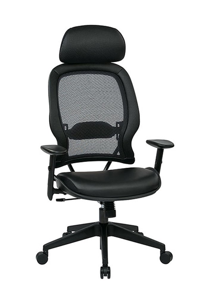 Amazon.com: Leather Air Grid Chair With Adjustable Lumbar Support  Eco Leather: Kitchen U0026 Dining
