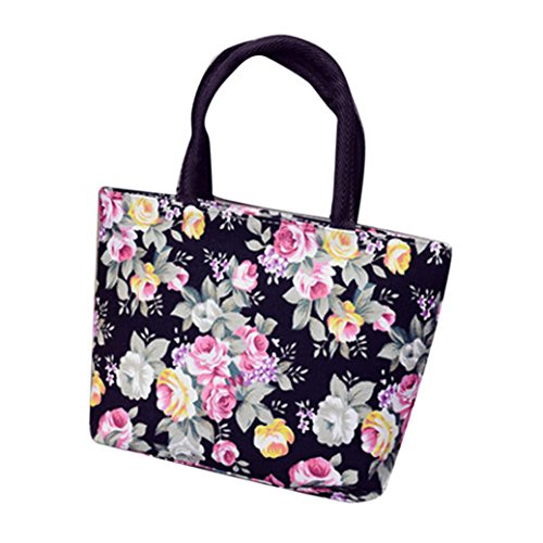 Creazy Fashion Women Girls Printing Canvas Shopping Handbag Shoulder Tote Shopper Bag (Black) Girl Shopper