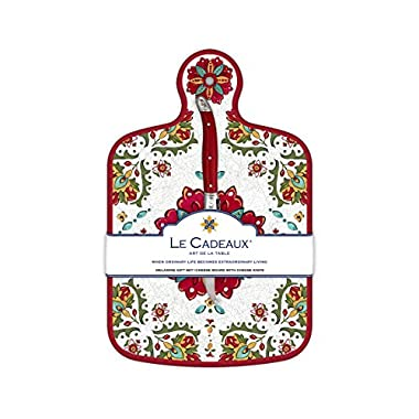 Le Cadeaux Allegra Red Cheese Board and Knife Set