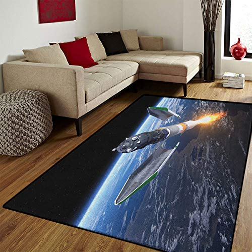 Outer Space,Door Mats Area Rug,Launch of Cargo Spacecraft in Progress Rocket Takes Off Cosmos Universe,Customize Door mats for Home Mat,Black Grey Blue,6x8 ft