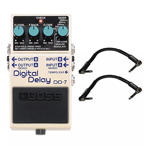 Boss DD-7 Digital Delay and 2 Roland Black Series 6 inch Patch Cables