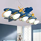 MILUCE Personal transport machine children's plane chandelier boy room bedroom lamp led cartoon light ( Color : White )