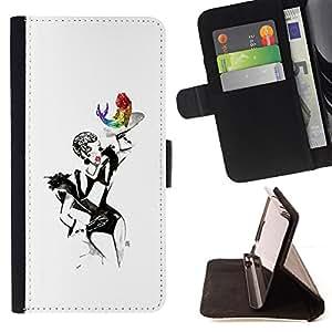 /Skull Market/ - BURLESQUE SHOW WOMAN SEXY PAINTING ART For Samsung Galaxy Core Prime - Caja de la carpeta del tir???¡¯???€????€???????