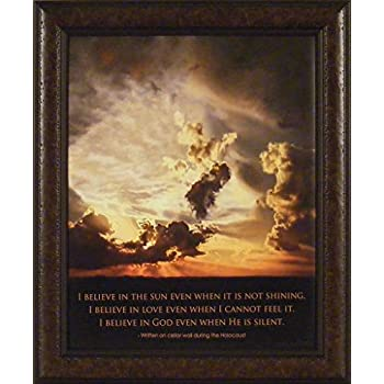 Believe By Bonnie Mohr 20x24 Holocaust Cellar Wall Clouds Sun Love God  Inspirational Uplifting Quote Framed