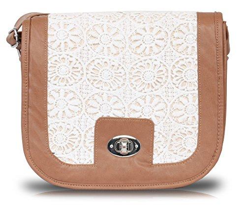 Pick Pocket - Bolso cruzados de Lona para mujer Blanco White and Brown