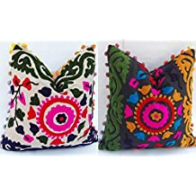 2 Pc Suzani Pillows, Embroidered Cushion Cover 16x16, Indian Pillow Shams, Pom Pom Outdoor Cushions, Boho Throw Pillow Cases