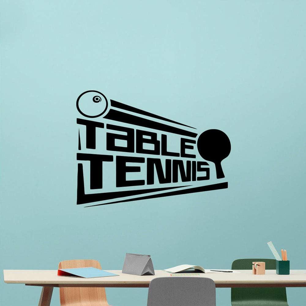 zhuziji Logotipo de Tenis de Mesa Logotipo de Tenis de Mesa Adhesivo de Pared Vinilo decoración de Interiores Pegatinas de Pared para el hogar Gym Estadio Mural póster removible57x43cm