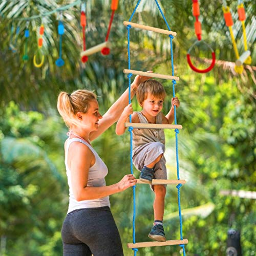 Rope Knots Monkey Bars Gym Rings Double Line Design 50ft Ninja Slackline with Climbing Ladder Jugader Ninja Warrior Obstacle Course for Kids with Slide Pulley
