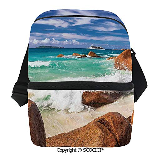 SCOCICI Reusable Insulated Grocery Bags Exotic Coast with Wave Seychelles Island Paradise Beach Scenery Thermal Cooler Waterproof Zipper Closure Keeps Food Hot Or Cold