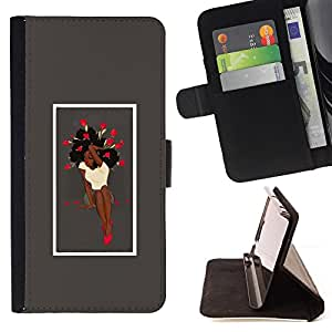 KingStore / Leather Etui en cuir / Sony Xperia Z3 D6603 / Sexy afro Mujer y rosas